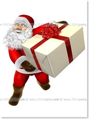 Santa Claus offering a big present with a red reflective rubber.