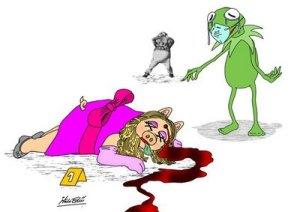 Los Muppets y la gripe porcina. De:http://italoeducaricaturas.blogspot.com/2009/04/la-fiebre-porcina-ataca.html