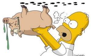 """Puerco araña"" y Homero Simpson. De: http://italoeducaricaturas.blogspot.com/2009/04/pandemia-virus-gripal-fiebre-porcina.html"