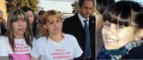 La madrey la tía de Candela Sol Rodriguez y el gobernador de Buenos Aires, Daniel Scioli en una marcha pidiendo la aparición de la niña. El uso político de un tema de conmoción social cuando el estado descuida la protección de los menores.