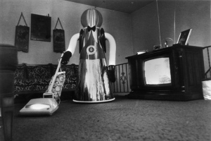 November 1978:  A domestic robot, developed by Quasar industries in America, hoovering the house.  (Photo by Alan Band/Keystone/Getty Images)
